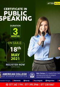 Certificate in Public Speaking